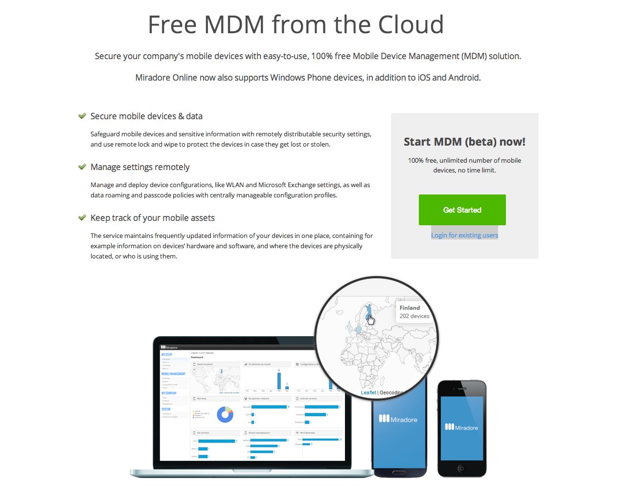 Free MDM from the Cloud Miradore Online