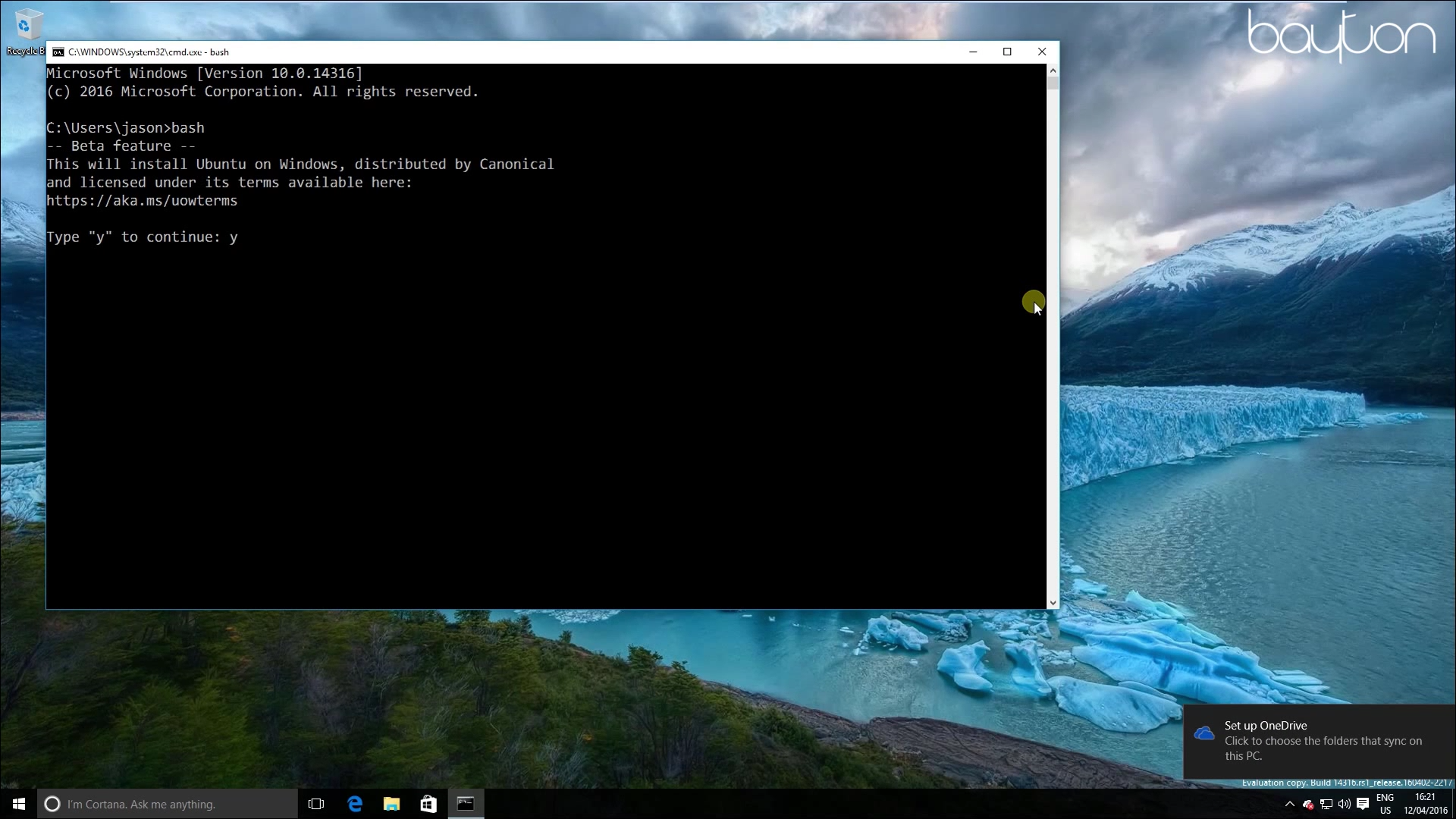 Install Bash on Windows 10 (build 14316+) | Jason Bayton